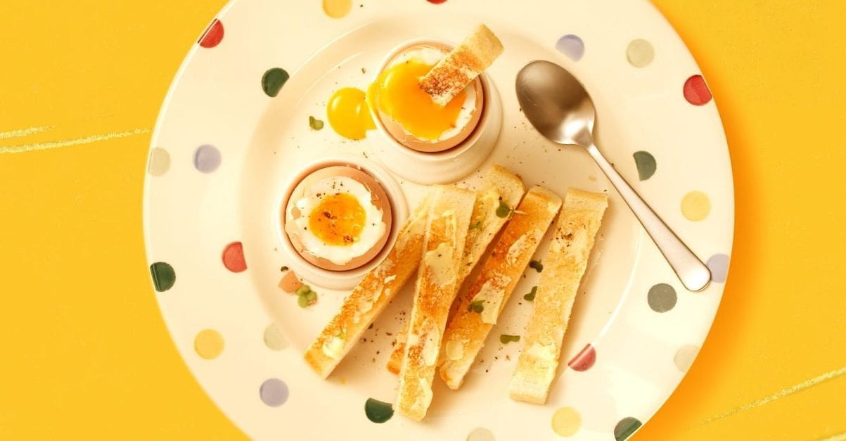 boiled eggs and toast on plate