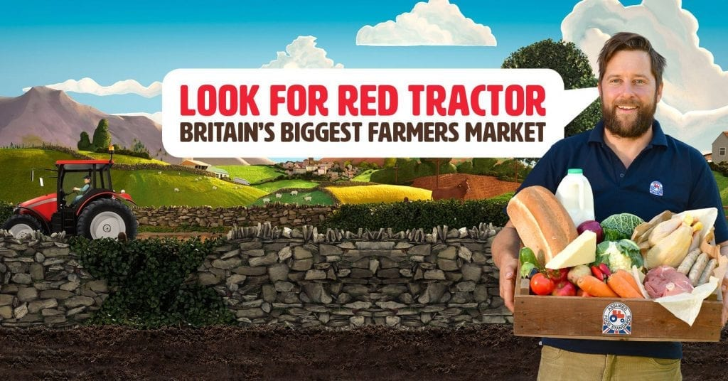 a farmer promoting red tractor