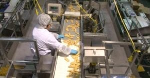 A worker at Tyson Foods